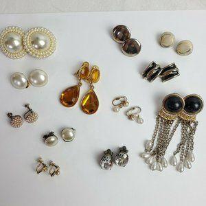 Lot of 12 Vintage Earrings Clip On Screw Backs Jewelry Faux Pearls Rhinestones